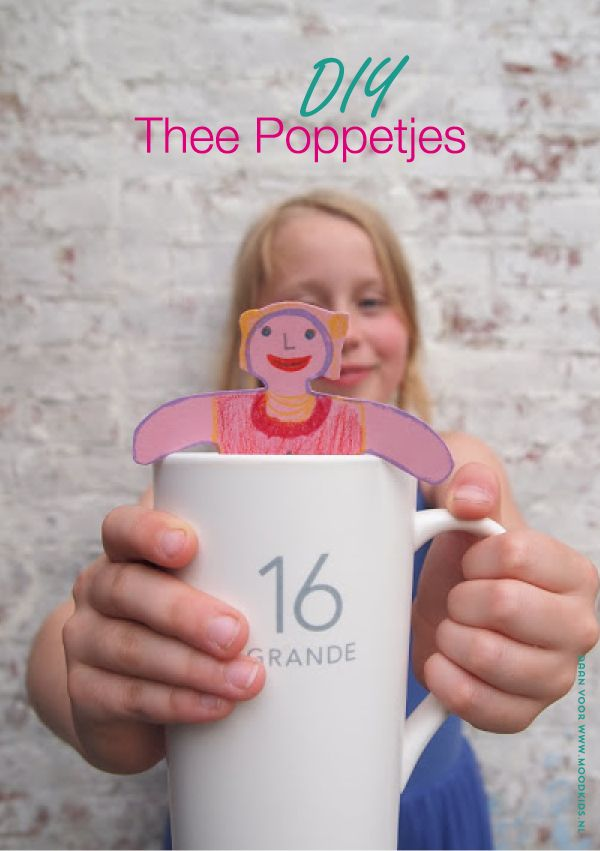 DIY theezakjes, theelabels maken, theepoppetjes, kidscraft, knutselen, theezakje knutselen, traktatie van #moodkids. Ook leuk met een foto van je kind als afscheid of voor juffendag.