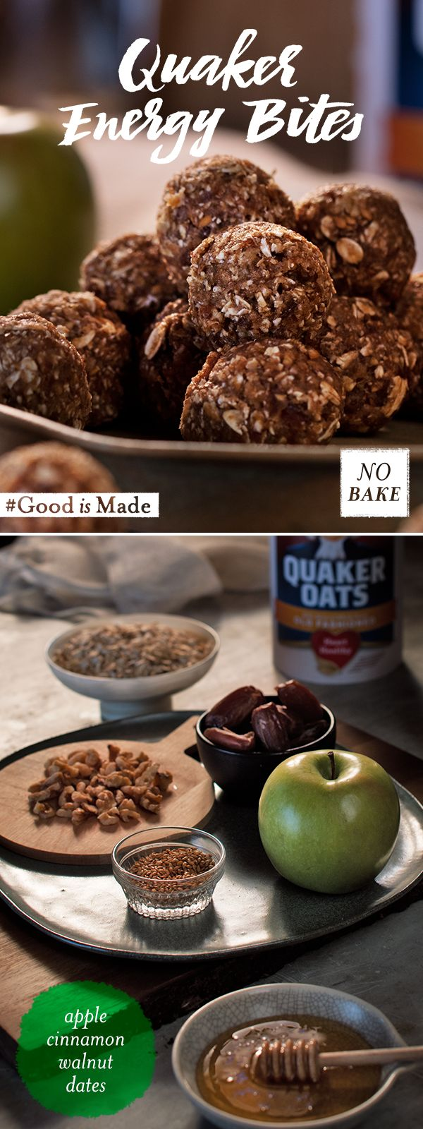 An easy, no-bake snack that's full of flavor. Try Quaker®  Apple Cinnamon Walnut Energy Bites with just a few simple ingredients, like oats, cinnamon, apples and walnuts, for a quick pick-me-up or even just for fun.