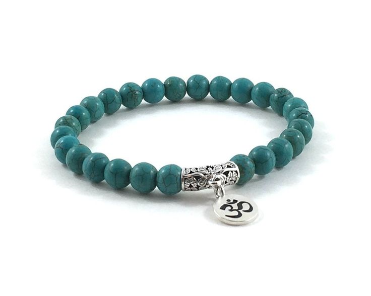 Turquoise Magnesites and Om Sterling Silver Charm Bracelet