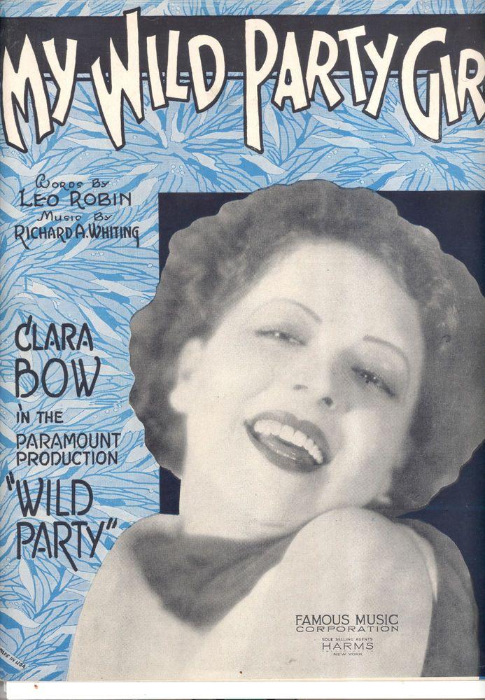 "WILD PARTY Sheet Music ""My Wild Party Girl"" Clara Bow"