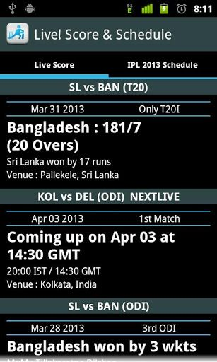 This app provides fastest live coverage of international cricket and domestic cricket along with latest Cricket Scores and Schedule.Know the cricket score (s) for any live cricket match, with ball by ball score updates & highlights with following features:* Live Cricket Score: \t1. Ongoing (Live), Upcoming and Recent match details with team names, match date and venue \t2. Latest match status and Man of the Match Cricketer name for recent matches \t3. Last wicket, current scor...