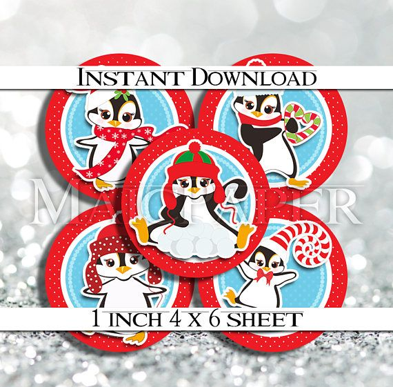 INSTANT DOWNLOAD Christmas Penguin Red Blue Winter 4x6 Digital