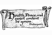 Shakespeare's scroll -Health, Peace and Sweet content be yours- CLING STAMP by Cherry Pie Art Stamps. $4.00, via Etsy.