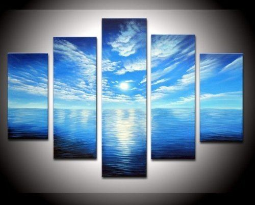 100% Hand-painted Free Shipping Wood Framed on the Back Artwork Blue Ocean White Clouds Ready to Hang Wall Decor Landscape Oil Painting on Canvas 5pcs/set Mixorde by bestart, http://www.amazon.com/dp/B008EFH9HA/ref=cm_sw_r_pi_dp_7iNirb0R20377