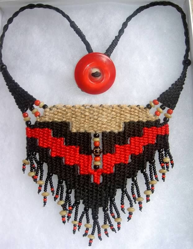"""Mary's Necklace"" - 2012 - Fixed length choker, vintage button, special order for ""Mary,"" SOLD. Woven by Terri Scache Harris, theravenscache.shutterfly.com Hand woven, handwoven, weaving, weave, needleweaving, pin weaving, woven necklace, fashion necklace, wearable art, fashion necklace, fiber art."