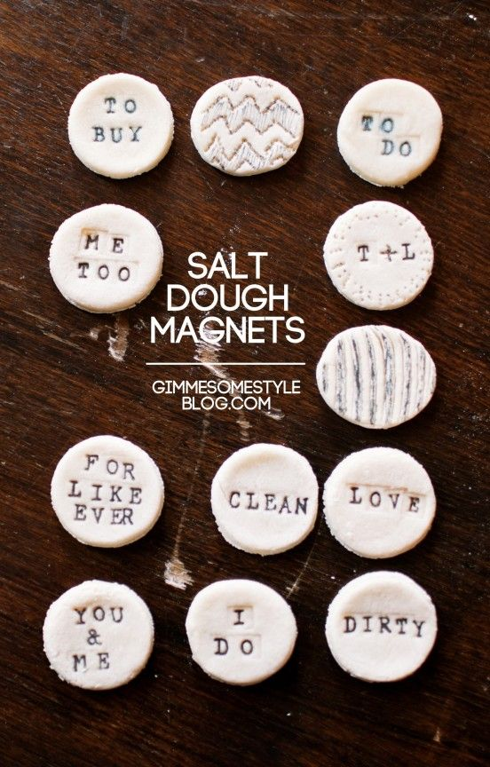 Salt Dough Magnets |  Make the dough:        1 cup all purpose flour      1/2 cup salt      1/2 cup cold water    1.) Mix all three ingredients in a bowl until the dough forms into a ball
