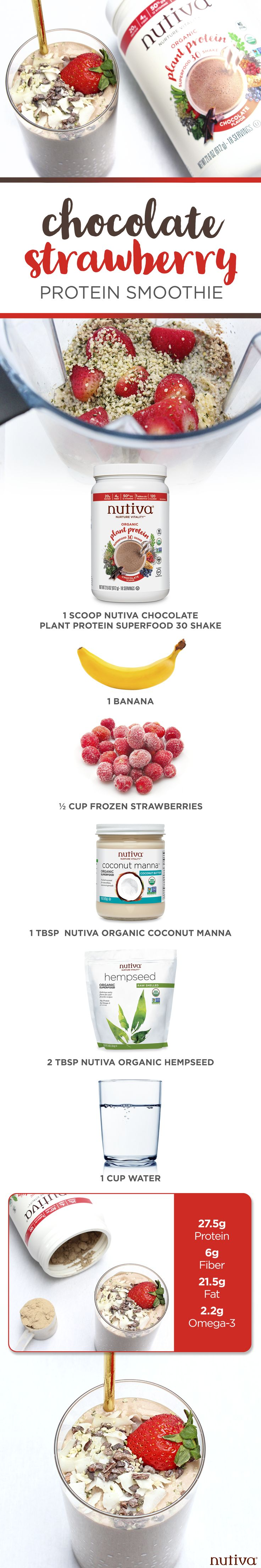 Chocolate Strawberry Protein Smoothie kitchen.nutiva.com