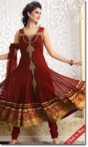 Maroon color Anarkali suits for wedding occasion.