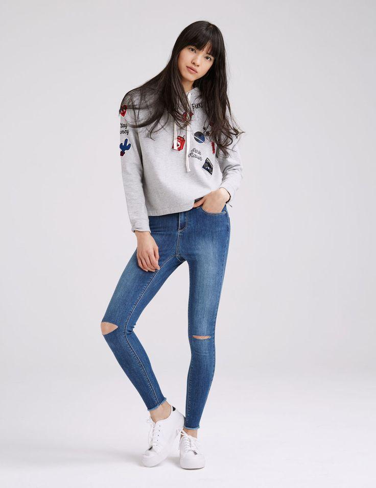 Jean super skinny taille haute medium blue femme • Jennyfer
