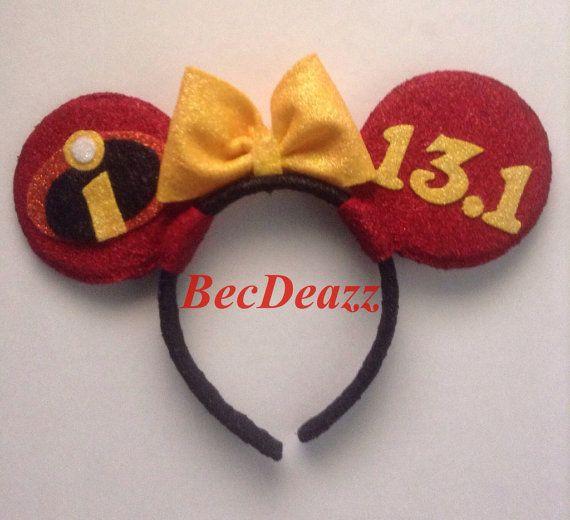 Run Disney Custom Minnie Mouse Ears headband on Etsy.