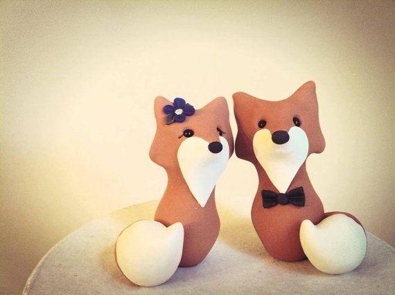Fox Custom Wedding Cake Topper Handmade by LuLuAmour on Etsy