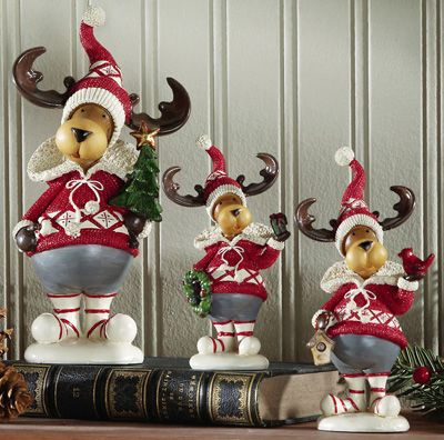 Set of 3 alpine christmas reindeer sculptures indoor for Christmas deer decorations indoor