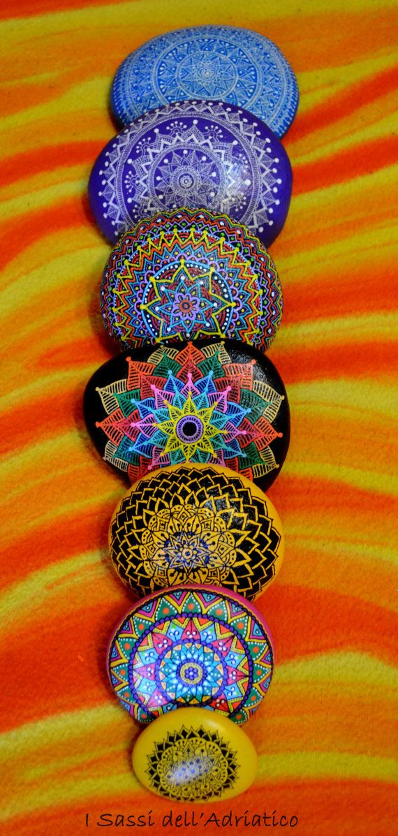 Hand Painted Stone Mandala by ISassiDellAdriatico on Etsy