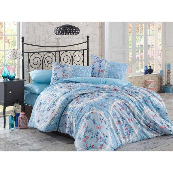 Lenjerie de pat cu cearșaf Asia, 200 x 220 cm, albastru