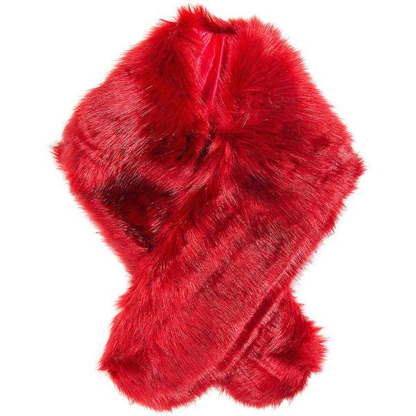 Blue Banana Faux Fur Stole (Red) ($23) ❤ liked on Polyvore featuring accessories, scarves, faux fur shawl, blue shawl, fake fur stole, red scarves and red shawl