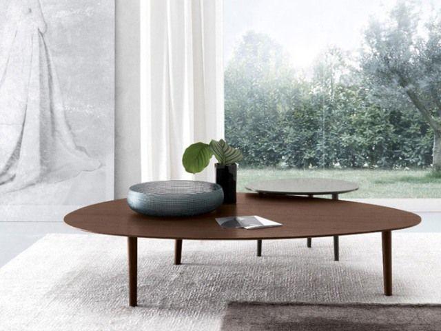 Τραπεζάκι Σαλονιού-Καθιστικού Μέσης (Coffee Table) Οβάλ (Oval) ή Στρογγυλό ή Τραπεζάκι Βοηθητικό-Πλαϊνό (Side Table) Μοντέρνο POND του Ιταλικού Οίκου JESSE σε σχέδιο Francesc Rifè σε πολλά χρώματα λάκας ή σκουρόχρωμο ξύλο δρυός (#002531)