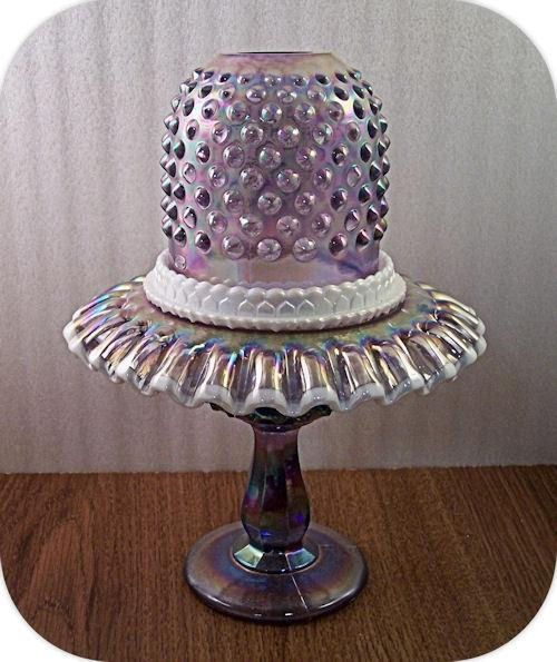 Fenton Iridized Violet 3 Piece Hobnail Fairy light