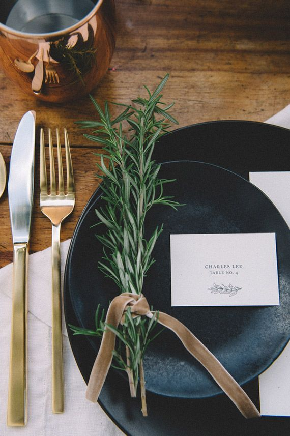 Holiday table details - sprig of rosemary