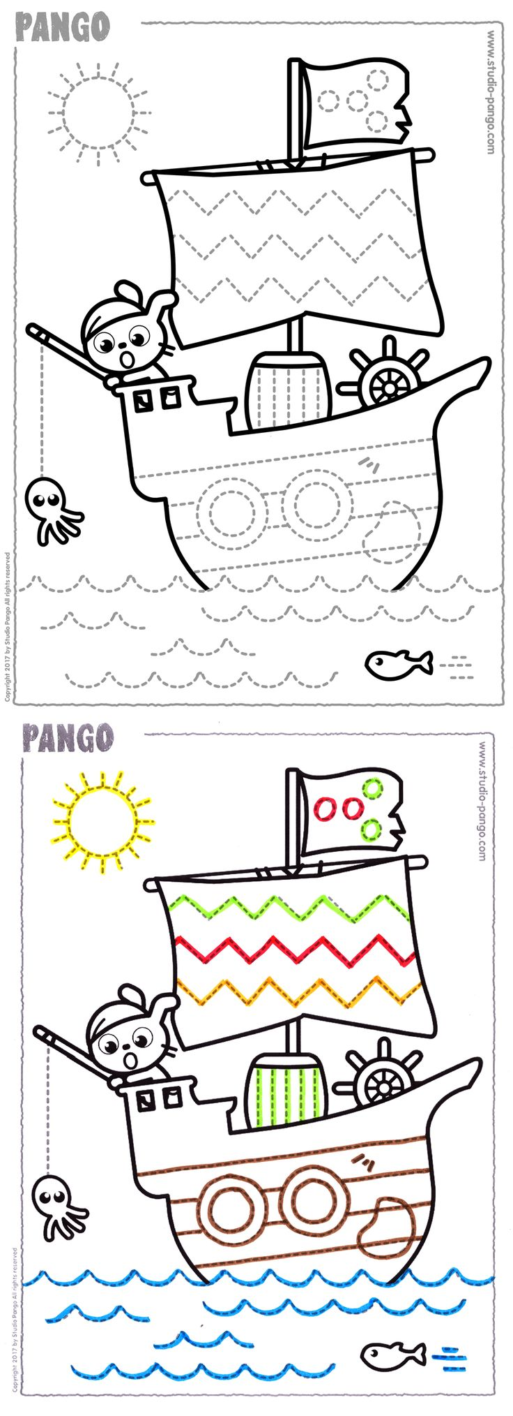 Pirate ship  #graphisme #prewriting #lines