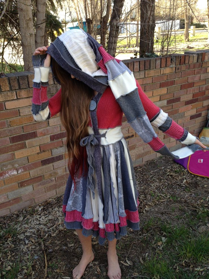 Upcycled Wool Sweater Coat, Pixie Hood, Juniors