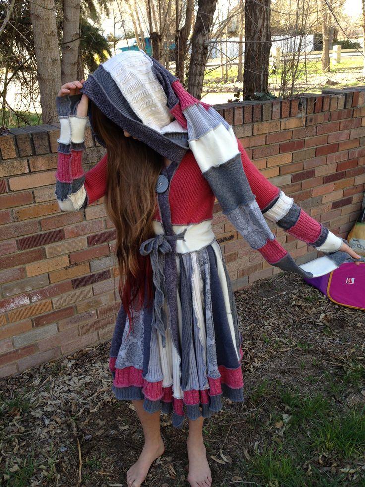 Upcycled Wool Sweater Coat, Pixie Hood, Juniors