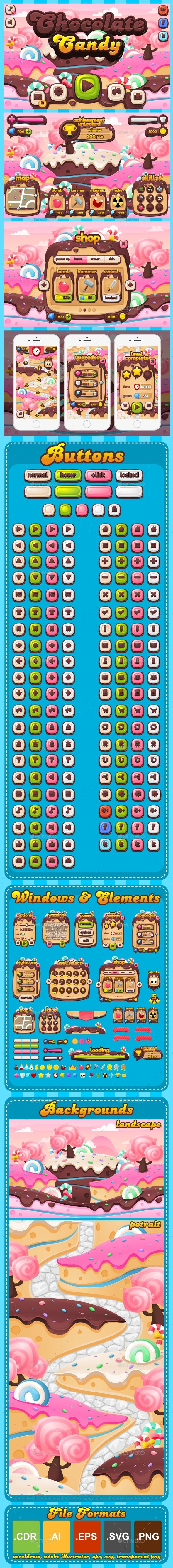 Chocolate Candy - Game GUI - #User Interfaces #Game Assets