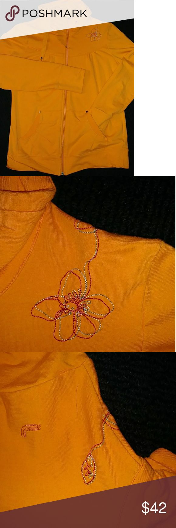 "Lole Organic Zip up Yoga Sweatshirt Worn only Twice. Color still Very Vibrant!! Excellent condition Has Zero Stains!  Organic Cotton Embroidered Zip up Yoga Sweatshirt in Vibrant Orange by ""Lole"". Some Ruching thtoughout. Looks very Cute with a Dark wash Skinny Jean and Flats!! Lole Tops Sweatshirts & Hoodies"