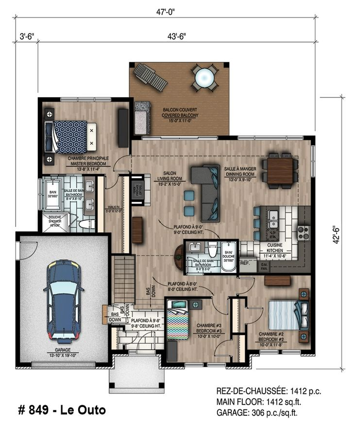 8 best Planos images on Pinterest Floor plans, Small houses and - plan maison plain pied 80m2