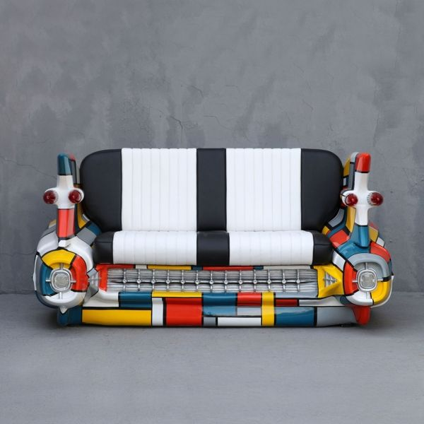 Mondriaan car sofa inquire at: dominique@yabdesign.com  Material	Fiberglass Length (cm)	183 Width (cm)	96 Height (cm)	92