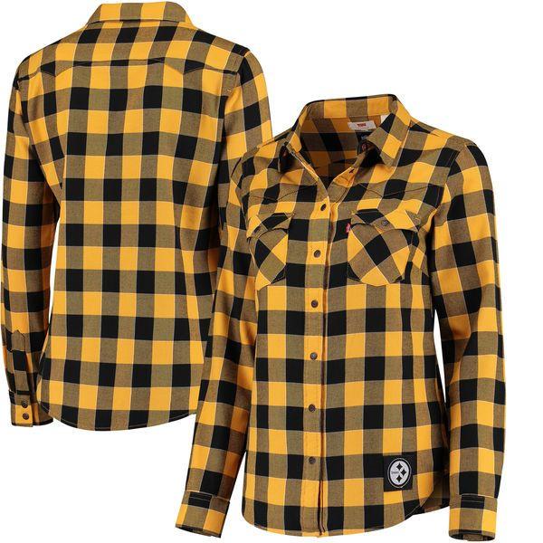 Women's Pittsburgh Steelers Levi's Black Barstow Western Button-Up Long Sleeve Shirt - NFLShop.com