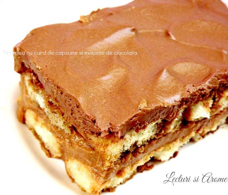 Tiramisu cu curd de capsune si mousse de ciocolata/ Chocolate mousse and strawberry curd cake