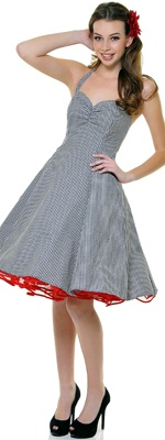 1950's Style Heartbreaker Black Gingham Sweetie Dress... Loving the 50's style dresses... and the red crinoline is SWEET!