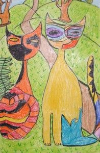 Cubist cats. Incorporate with Daphne Odjig, Canadian artist influenced by Picasso. Visual Art Lesson.