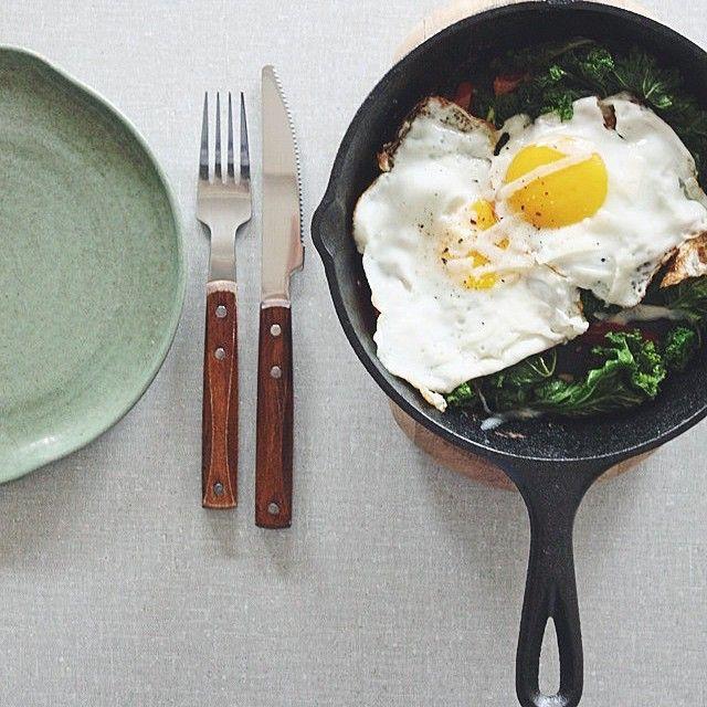 Sauteed Kale, Tomatoes, Fried Eggs And Pecorino Cheese