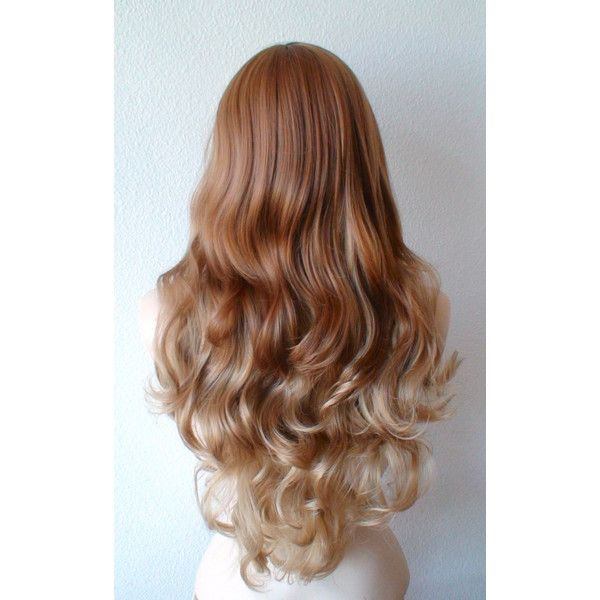Ginger red Golden blonde long straight layered hair long side bangs... ($140) ❤ liked on Polyvore