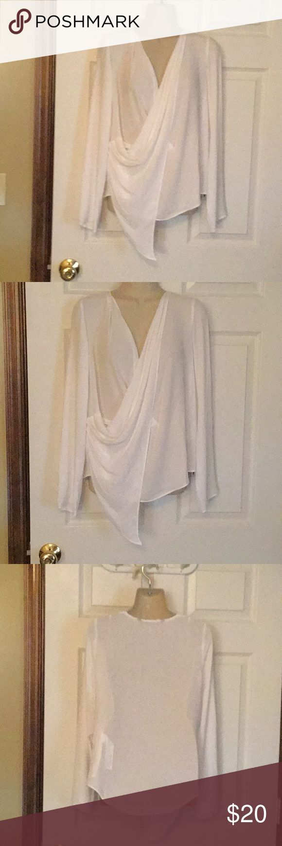 Zara White Dressy Top NWT 25 inches from shoulder to bottom of top.  Very silky type material.  Slip over the head. Zara Tops Blouses