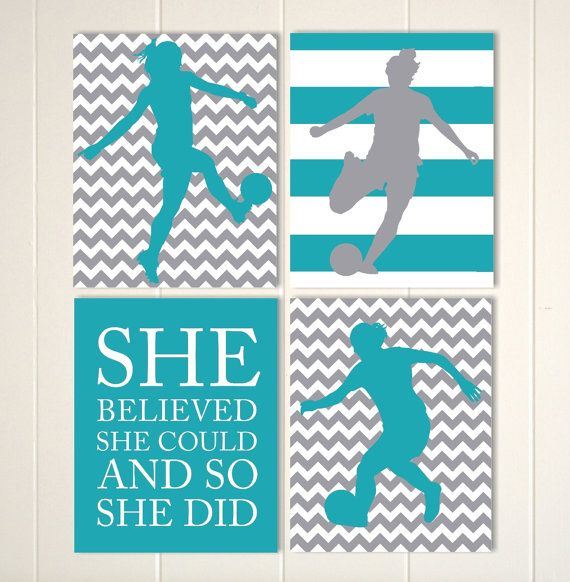 Please visit my shop: https://www.etsy.com/shop/PicabooArtStudio This is a set of 4 unframed soccer girl prints. Choose from 4 different sizes.