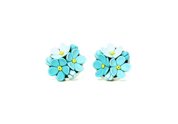 Tiny Floral Stud Earrings Forget Me Not Cute by KittenUmka on Etsy