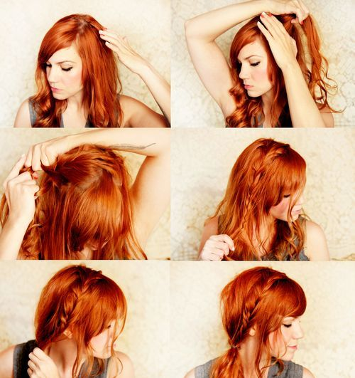 gotta try it!French Braids, Hair Colors, Red Hair, Fishtail Braids, Hair Style, Side Ponytail, Redhair, Side Braids, Braids Hair