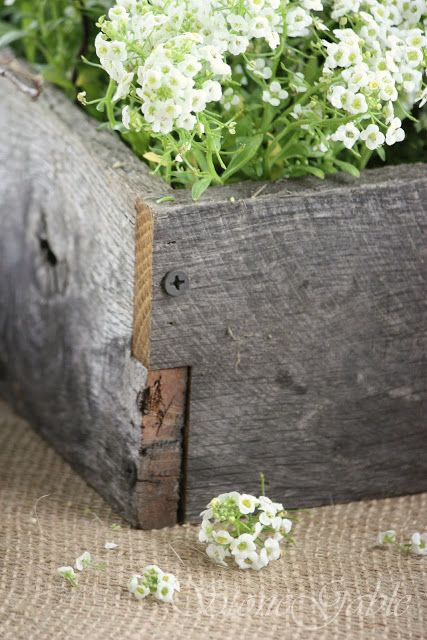 StoneGable: SPRING NESTING TABLESCAPE -for centerpieces - build wooden boxes from old fence boards