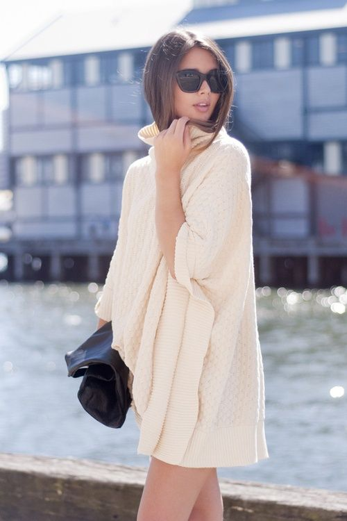 turtleneck cashmere sweater: Weekend Styles, White Sweaters, Sweaters Dresses, Outfit, Street Styles, Casual Looks, Cozy Sweaters, Coats, Chunky Knits
