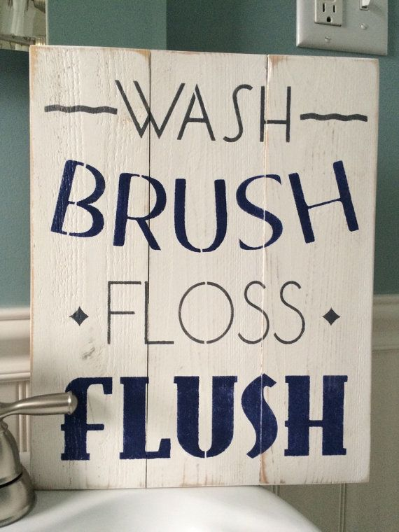 Wash brush floss flush distressed bathroom sign - nautical bathroom decor - grey and navy bathroom decor - hand painted wood sign - washroom