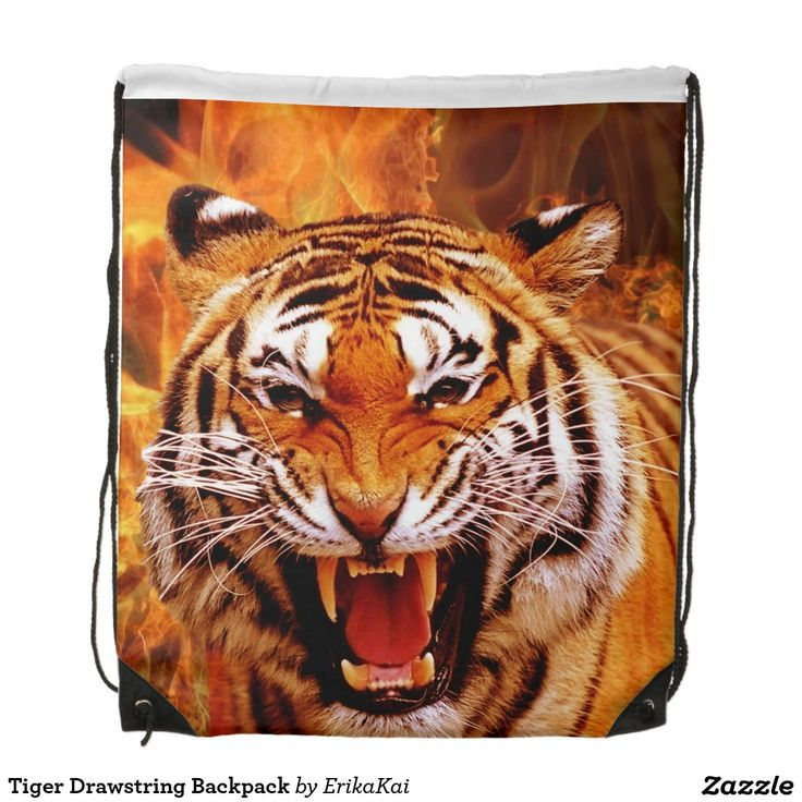 """Tiger and Flame Drawstring Backpack. 100% polyester. Dimensions: 14.75"""" x 17.3""""."""