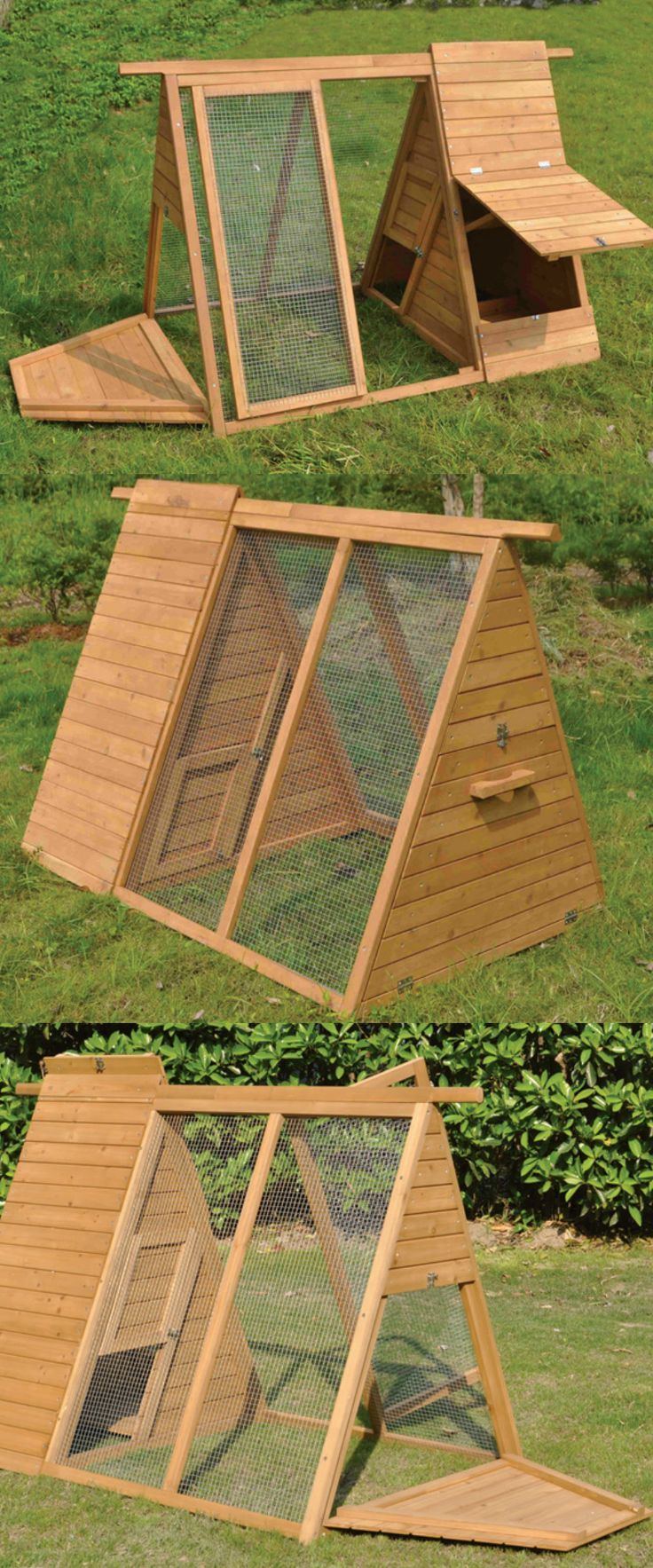 A-Frame Wooden Chicken Coop with Run — 2 to 3 Hens