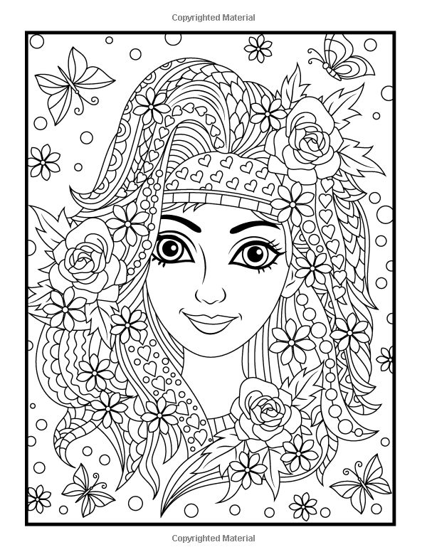 amazoncom flower girls an adult coloring book with beautiful women floral