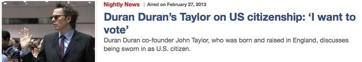 Duran Duran's John Taylor talks to NBC Nightly News about becoming a dual citizen!