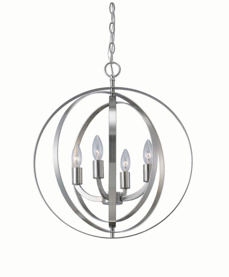 4 light brushed nickel sphere chandelier