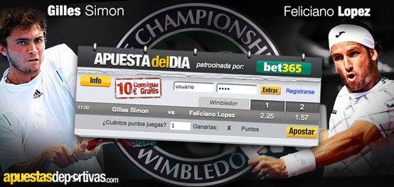 Hoy, en la Apuesta del Día tenemos tenis, partido en Wimbledon de Simon vs. Feliciano López, ¡no esperes para jugar que el partido es a las 5!
