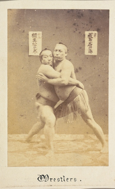 Sumo wrestlers, Japan, photographed between 1867 and 1869