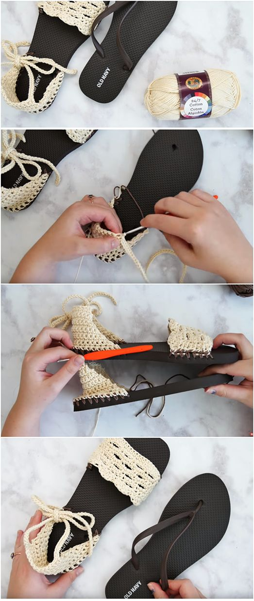 Crochet Sandals With Flip Flop Soles – Easy Tutorial